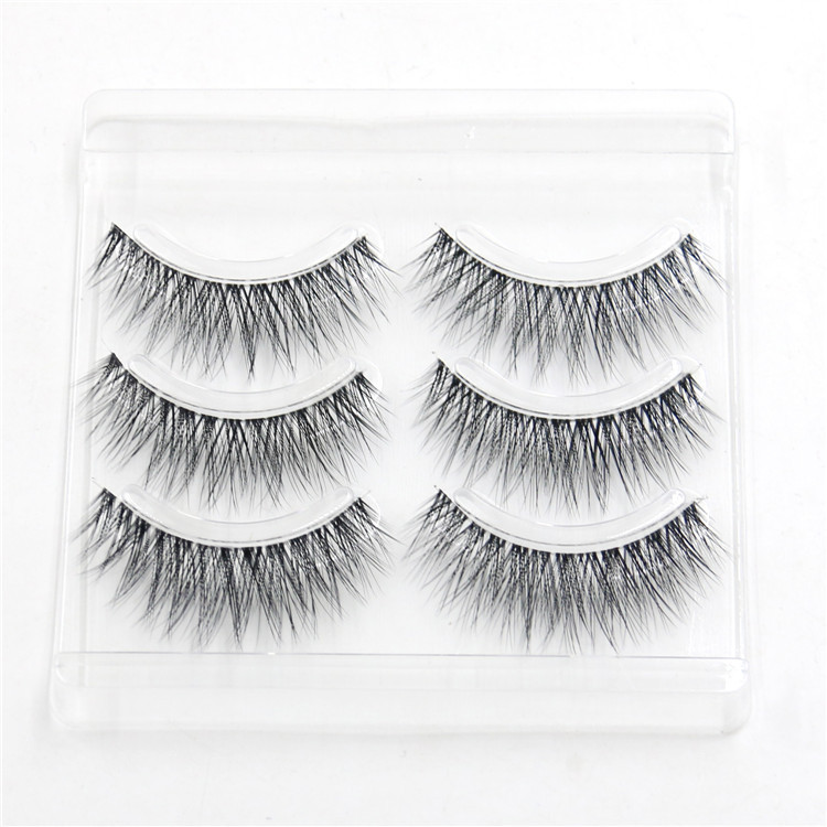 HBZGTLAD 3pair/4pair Invisible Band Transparent 3D Mink Fur Lashes Natural Long Wispy False Eyelashes