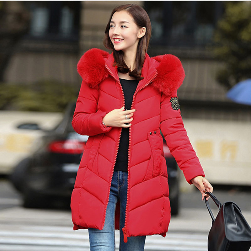 European Women s winter coat in the long paragraph A word thicker cotton parkas hooded 2016