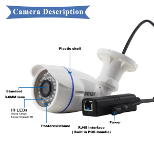 Image 5 - Smar HD1MP 2MP IP Camera Outdoor Indoor H.264 720P H.265 1080P Bullet Camera POE/External Audio Optional Security Night Vision