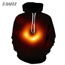 E-BAIHUI new fashion autumn hoodies and sweatshirt black hole Einstein digital print lovers hooded baseball uniform G026