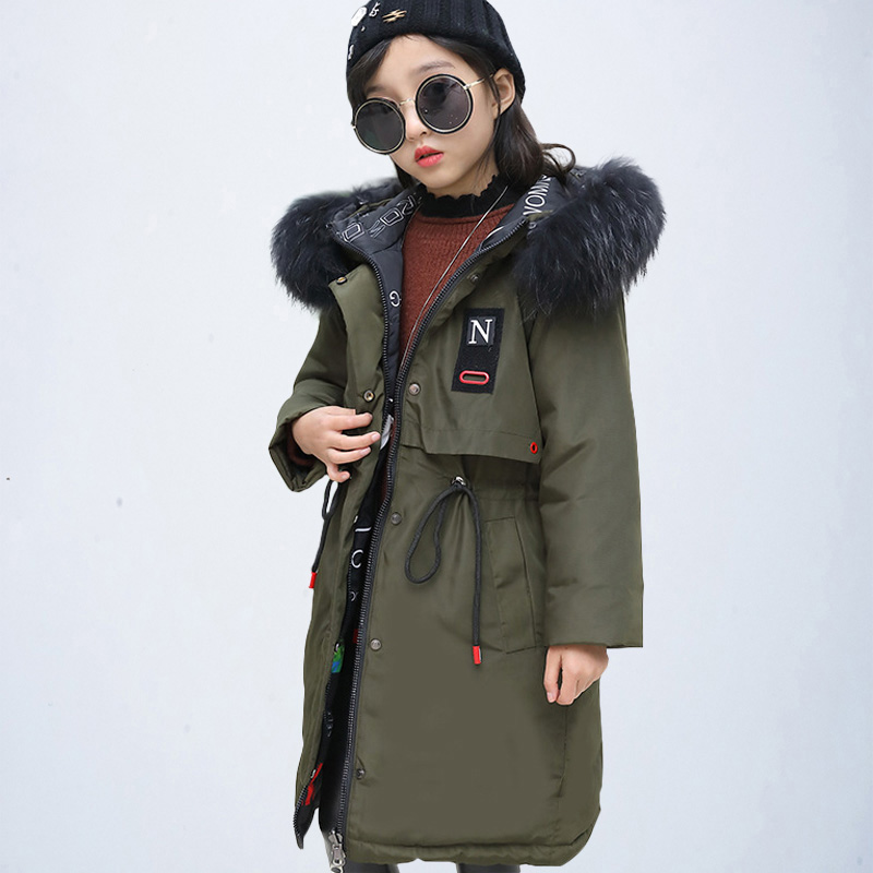 Girls Parka Winter Outwear Children Jacket and Coat Clothes Kids Long Down Parkas Thick Hooded Toddler Teenage Jackes Age 6 8 12 2018 girls winter coat kids down jacket for girl clothes teenage warm thick hooded children outwear parkas kids winter clothes