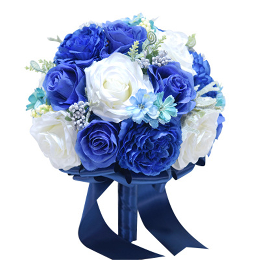 New Blue White Wedding Bouquet Handmade Artificial Flower Rose buque casamento Bridal Bouquet for Wedding Decoration