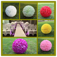 60 CM 23 Artificial Encryption Rose Silk Flower Ball Hanging Kissing Balls Large Size For Wedding Party Decorations 7 Color