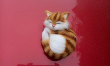 simulation sleeping kitty model toy polyethylene & furs brown cat 10x7x5 cm model car decoration gift t239