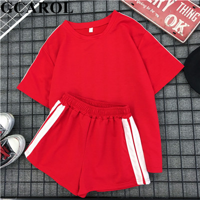 Gcarol New 2019 Summer Women 2 Piece Set Top And Shorts Elastic Waist Casual Tracksuits Summer Sport Active Outfits For Girls by Gcarol