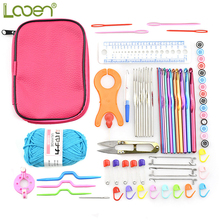 Looen Crochet Hook Set with Case Yarn Weaving Tool Sweater Crochet Needle Stainless Steel Knitting Needles with Sewing Accessory
