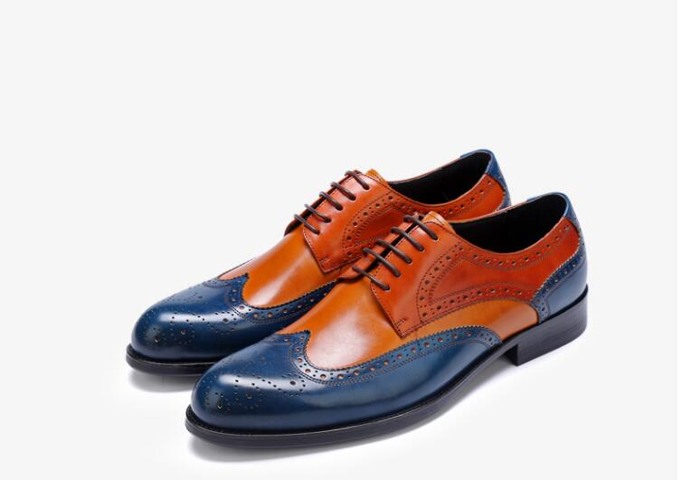 Brogue shoes men mix colour genuine leather lace up smart casual shoes patchwork carved brogue vintage dark blue brown moccasins men s brogue shoes fashion brown pointed toe leather shoes breathable lace up men casual shoes moccasins size 38 43 8205m