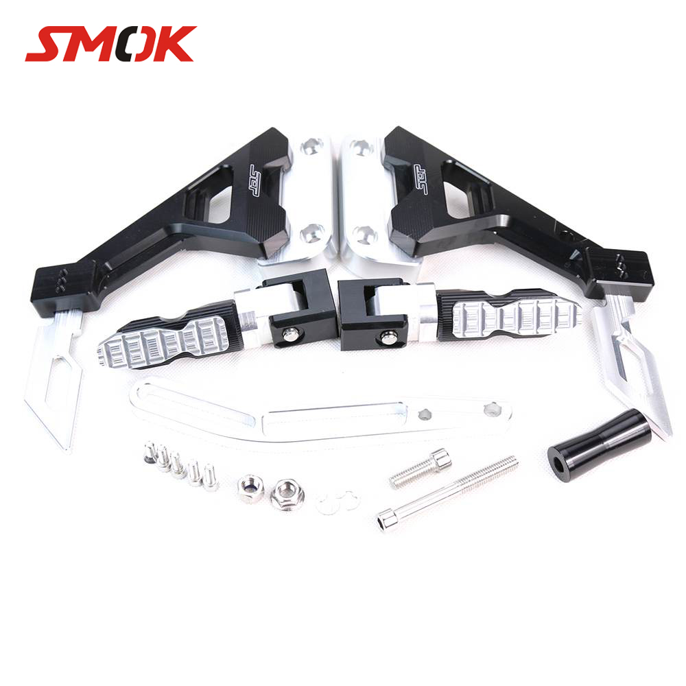 SMOK Motorcycle CNC Aluminum Alloy Adjustable Rider Rear Sets Rearset Footrest Foot Rest Pegs For Yamaha RC150 LC150 for yamaha yzf r125 2008 2013 aluminum cnc adjustable motorcycle rider rear sets rearset footrest foot pegs 2009 2010 2011