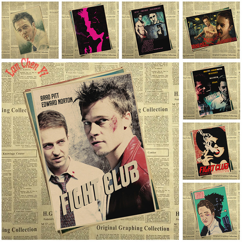 Fight Club Classic TV play Kraft Paper Poster Office Gift Room Dining Home Decor wall sticker Design
