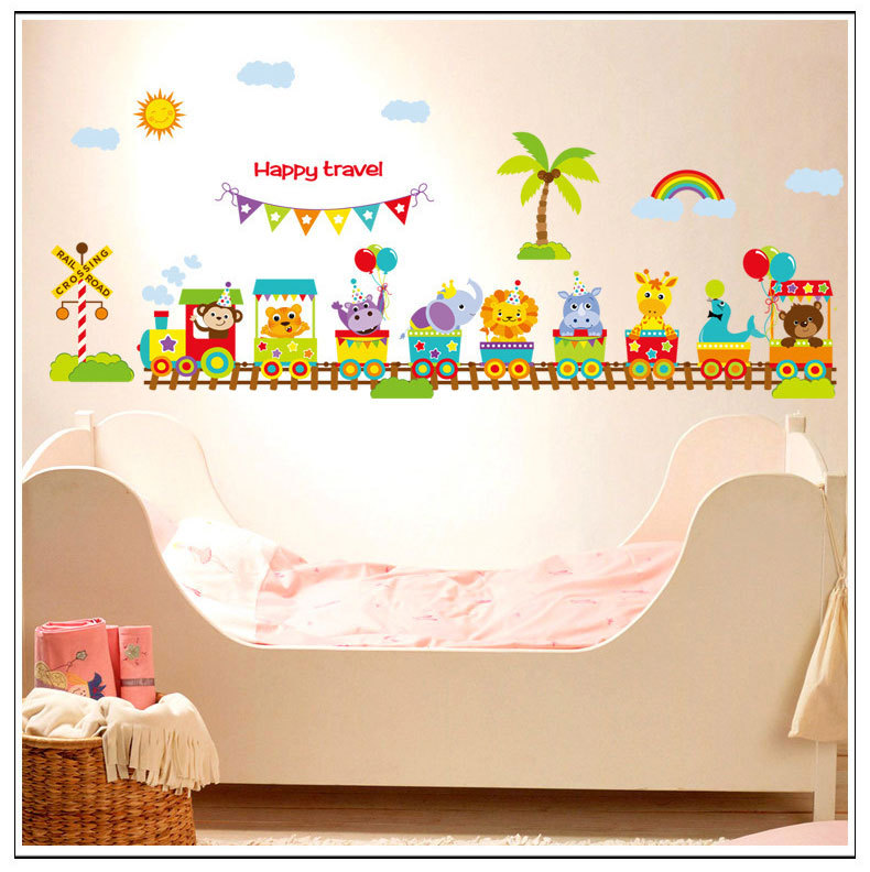 Cartoon Animal train Baby room wall stickers for kids room