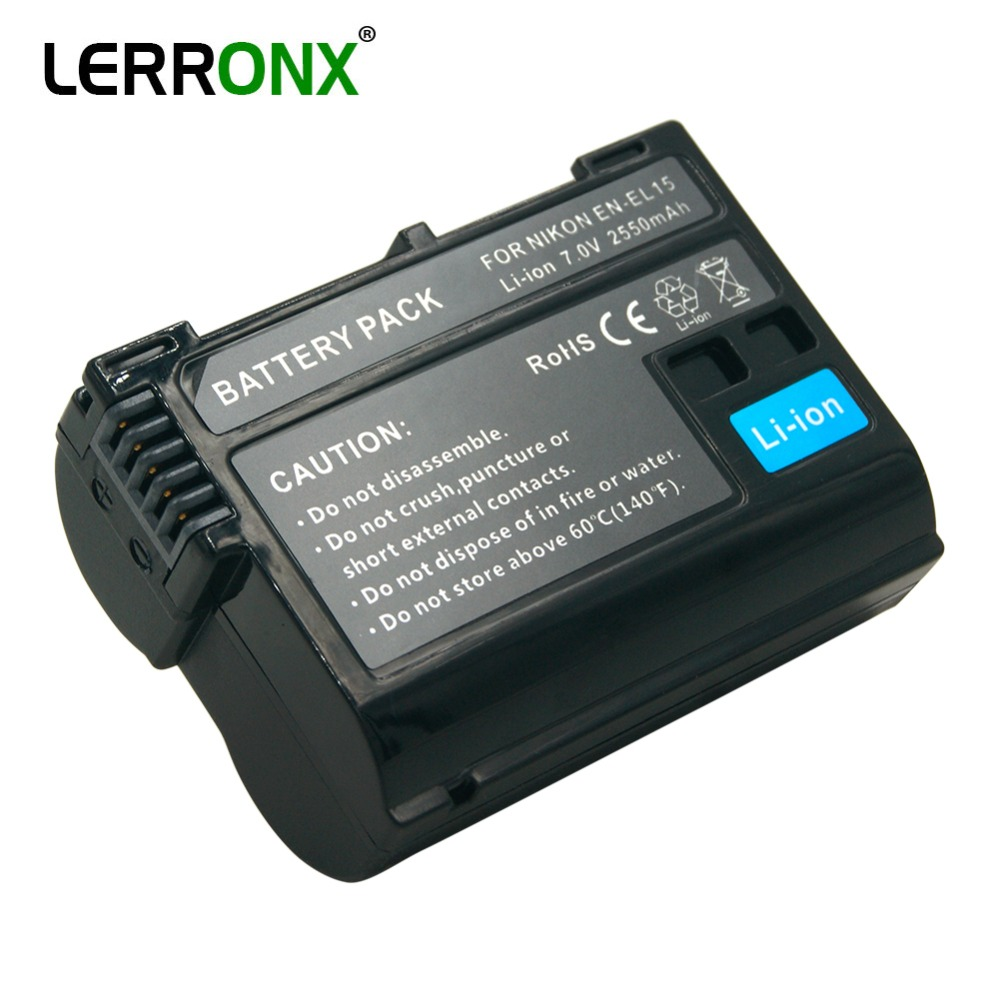 LERRONX EN-EL15 ENEL15 Rechargeable Digital Battery En-el15a EN EL15 2550mAh Camera Battery For Nikon D500 D750 D7100 D7000