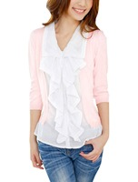 982 3 4 Sleeve Ruffled Front Fake Two Piece Blouse For Lady Women