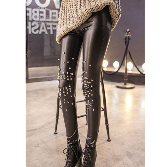 PU Leather Warm Leggings with Studs