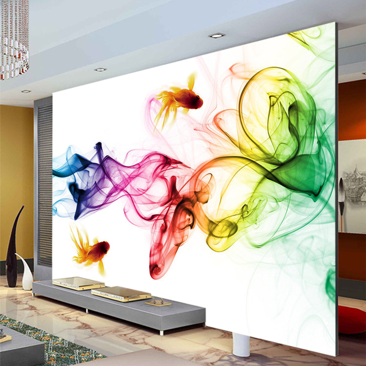 Modern smoke fog wallpaper 3d photo wallpaper goldfish for Art mural wallpaper