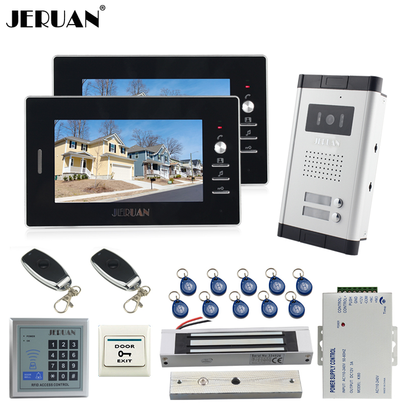 JERUAN NEW 7 inch LCD video door phone 2 black Monitor 1 HD Camera Apartment 1V2 Doorbell+RFID Access Control+FREE SHIPPING jeruan apartment 4 3 video door phone intercom system kit 2 monitor hd camera rfid entry access control 2 remote control