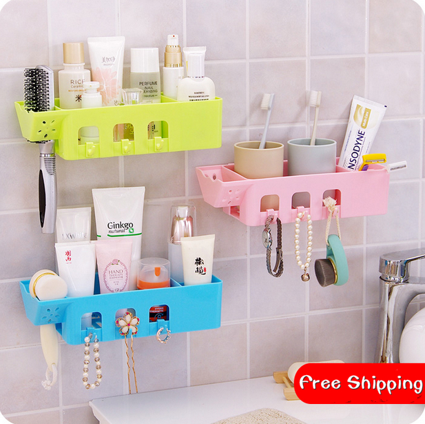 Multi Purpose Viscose Bathroom Storage Rack Self Adhesive Type Shelf With  Hook Kitchen Organizer