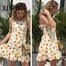 все цены на XURU summer fashion new women's print dress sexy strap backless chiffon dress tiered ruffled beach dress онлайн