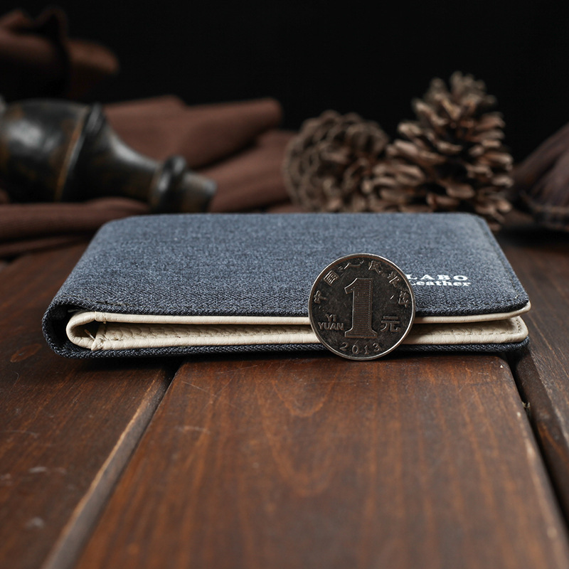 2017 Hot Sälj! Mens Short Denim Fabric Wallet Bästa Soft Canvas - Plånböcker - Foto 5