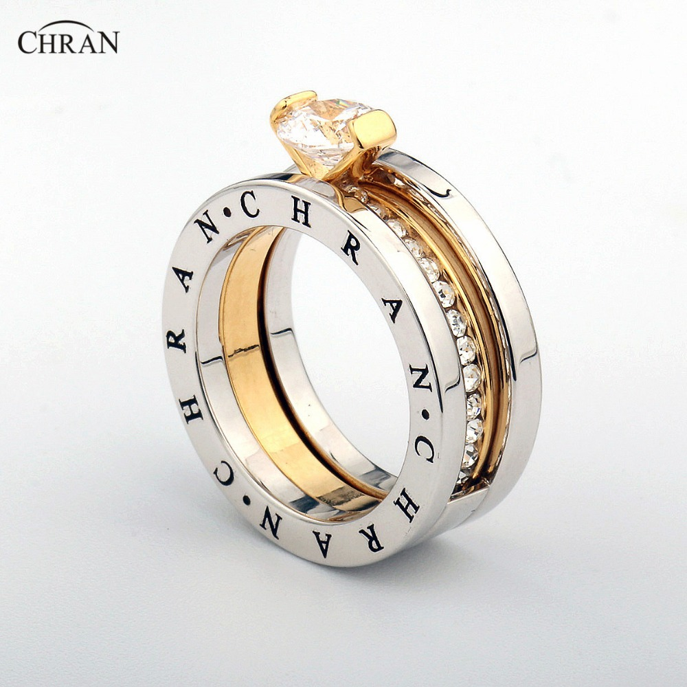CHRAN Elegant Austrian Crystal Gold Color Brand Jewelry Wholesale Classical Pave Band Zircon Engagement Rings For Women