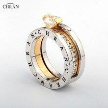 CHRAN elegante cristal austriaco oro marca de Color venta al por mayor de joyería clásica Pave banda Zircon anillos de compromiso para las mujeres