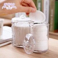Transparent Mint Cotton Storage Box Plastic Makeup Cotton Case Desktop Makeup Brush Cotton Recipe Small Box
