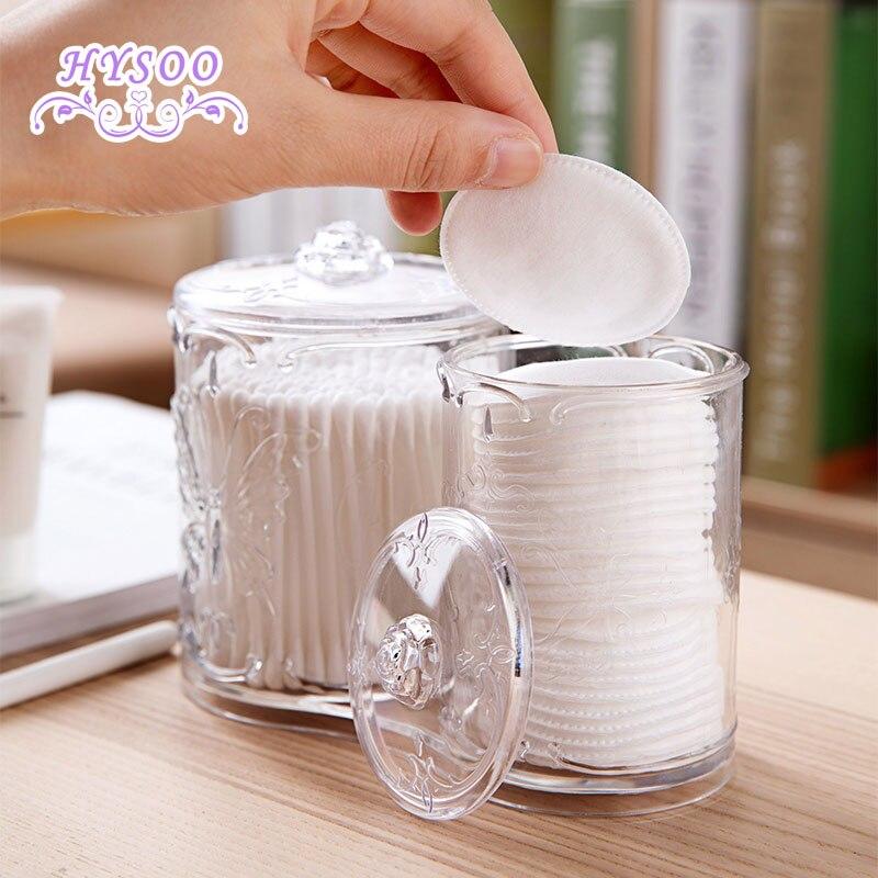 Transparent Mint Cotton Storage Box Plastic Makeup Cotton Case Desktop Makeup Brush Cotton Recipe Small Box HYSOO