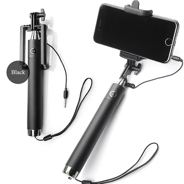Luxury Extendable Folding Wired Selfi Self Selfie Stick Monopod For Samsung Galaxy S5 Note3 iphone 6 5S Perche Selfies Selfiepod