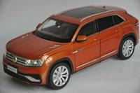 1:18 Diecast Model for Volkswagen VW Teramont X Atlas 2019 Orange Large SUV Alloy Toy Car Miniature Collection Gifts