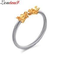 LOULEUR 2017 Men S Dragon Cuff Bracelet Vintage Adjustable Stainless Steel Twisted Cable Viking Bracelets Bangles