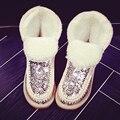 Strass pele de Carneiro Soft Lã Mulheres Botas de Neve Plataforma Plana Tornozelo Botas de Inverno Das Senhoras 100% Natural Austrália Sapatos De Pele Quente