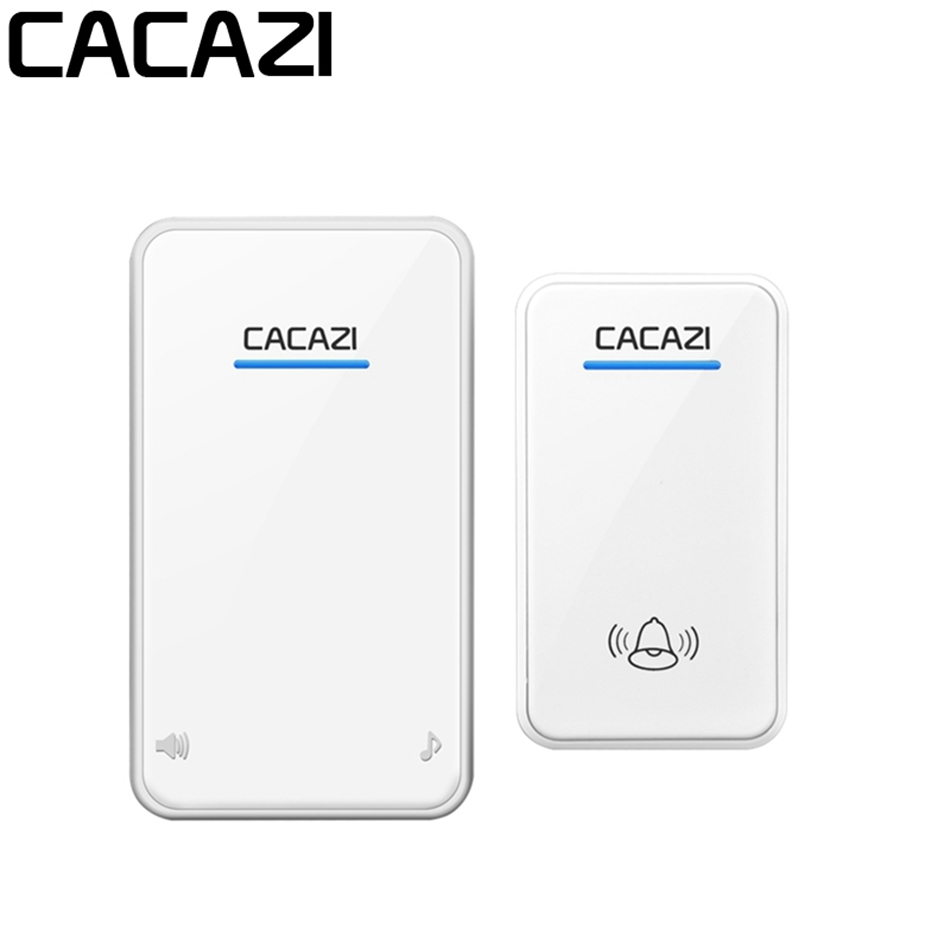 CACAZI Smart Home Wireless Doorbell Waterproof DC 12V 300M Remote Doorbell Chime Ring 110dB 1 Button Receiver Black Whict клаксон kwok 110db ahh 12v