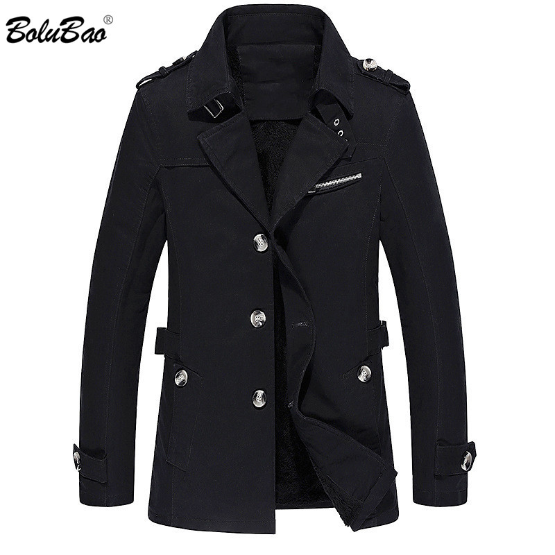 BOLUBAO New Men Trench Coats Autumn Winter Fashion Brand Men's Solid Color Trench Casual Plus Velvet Thickening Trench Male