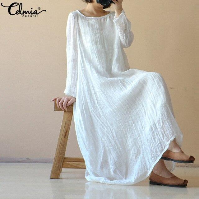 Plus Size 2018 Celmia Women Retro White Linen Dress Casual Loose