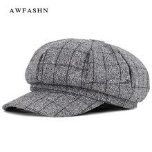 Новая мода высокого качества клетчатая полосатая восьмиугольная кепка Женская газетная шляпа весна осень решетки художника шляпа художника Винтаж