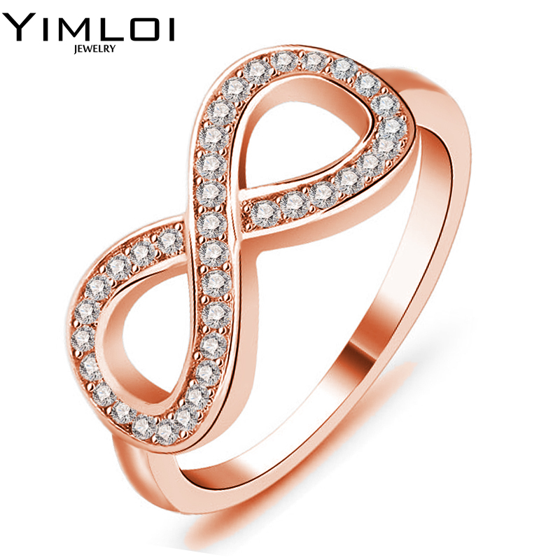 Classic Anillos Mujer Bague Aros Rose Gold Color Rhinestones Studded Finger