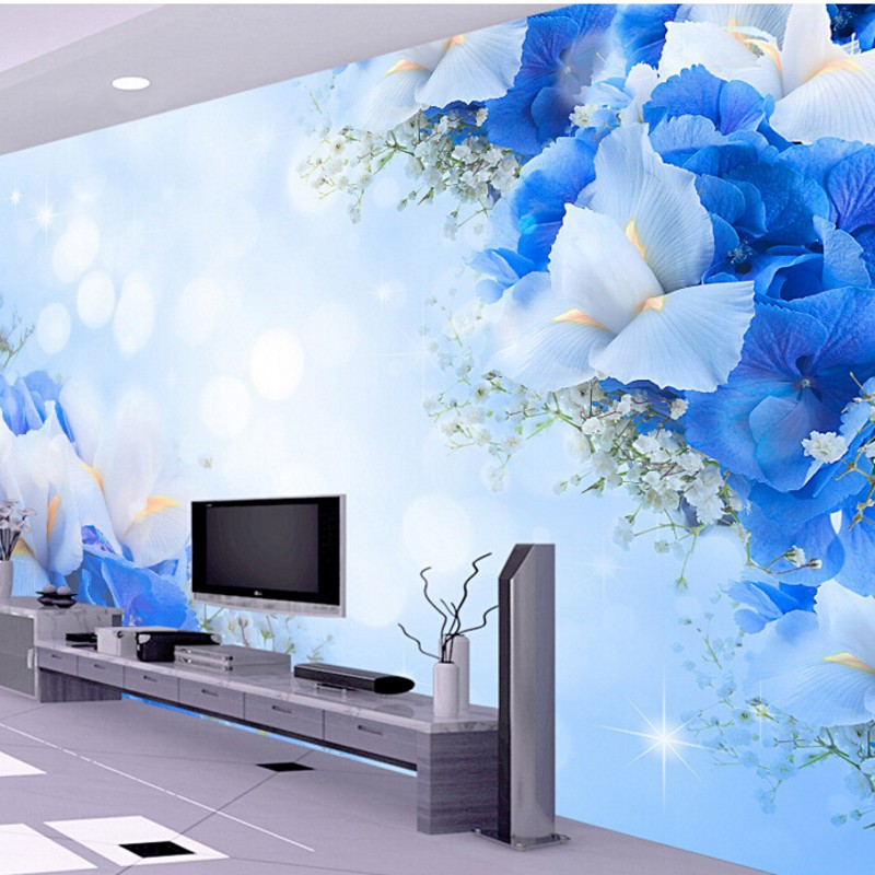 Beibehang Blue Dream fashion flowers room living room TV backdrop mural custom wall paper 3D stereoscopic 3d wallpaper custom 3d stereoscopic large mural wallpaper wall paper living room tv backdrop of chinese landscape painting style classic