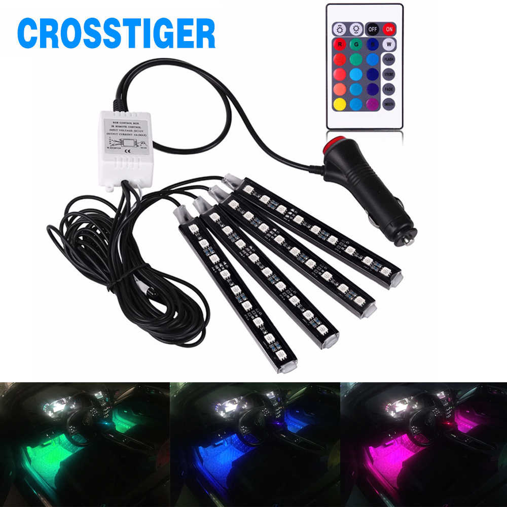 4Pcs SMD5050 Car GRB LED Light Car Interior Decorative Light 12V Car Styling Decorative Atmosphere Lamp Auto Strip Lights Colors