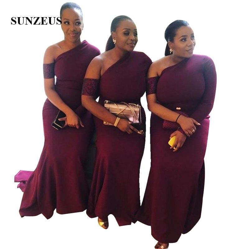 Simple manches longues robe de demoiselle d'honneur pour mariage sirène longueur de plancher femmes longues robes formelles robe mariage femme