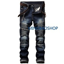 New Men's Jeans Slim Straight Cylinder Zipper Fold Men's Washing Trousers  distressed jeans  men clothes 2019
