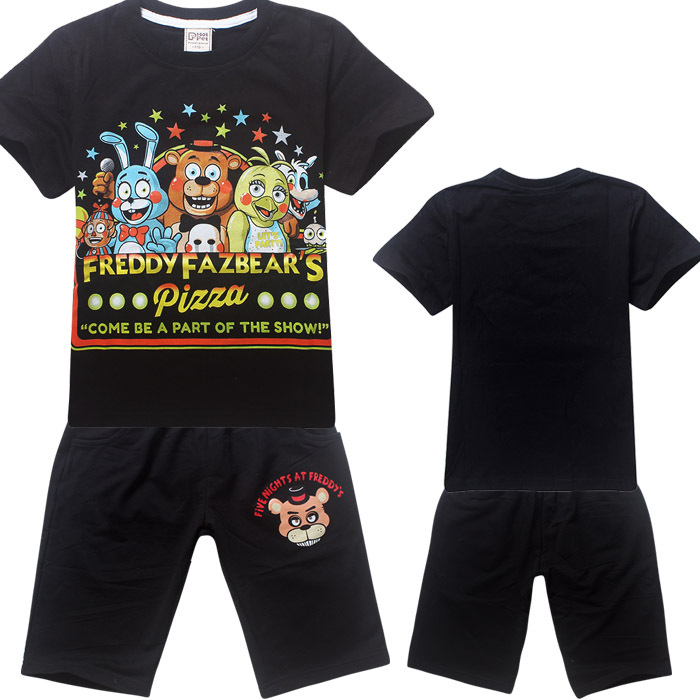 cotton boys clothe summer round collar short sleeved T-shirt sportswear cartoon animal midnight bear shirt boys clothes FNaF