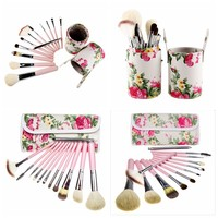 Makeup Brushes Maquiagem Pink Container Bags Tube Naked Palette Powder Foundation Eyeshadow Powder Cosmetic Set 12Pcs