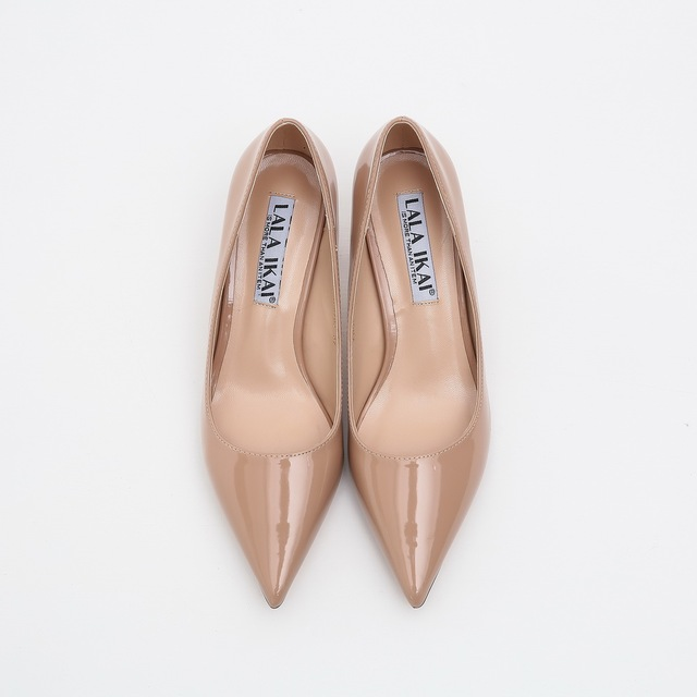 LALA IKAI Women Pumps 5 cm Nude Heels Ladies Casual High Heels Pointed Toe Patent Leather Party Office Shoes Woman XWC0703-2