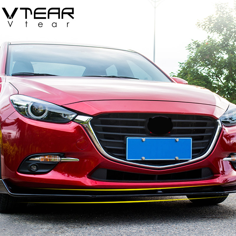 Vtera For Mazda 3 Axela Front Bumper Lower Grille Trim Protector Plate Lip Cover Exterior decoration strip Accessories 2017-2019 car styling for mazda 6 m6 atenza 2014 2017 front bumper lower grille protector plate lip cover sticker trim decorative strip