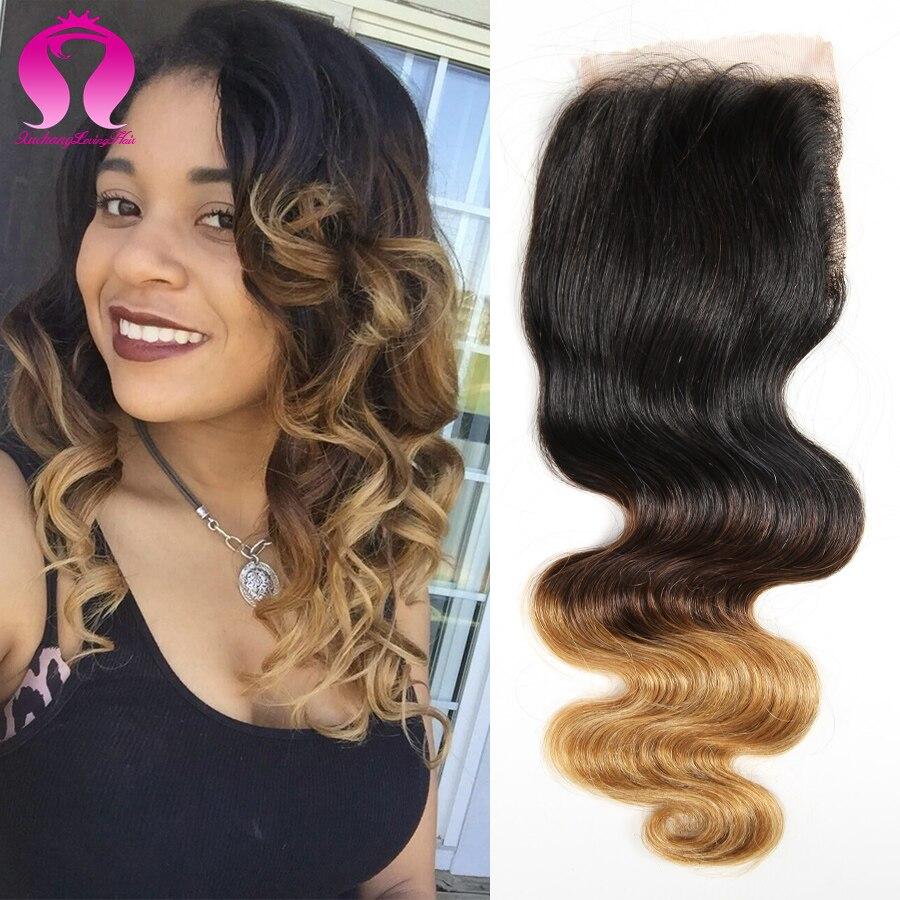ФОТО 7A Peruvian Virgin Hair Ombre Peruvian Body Wave Lace Closure Human Hair Lace Closure 4*4inch Blonde Ombre Closure 3 Tone Hair