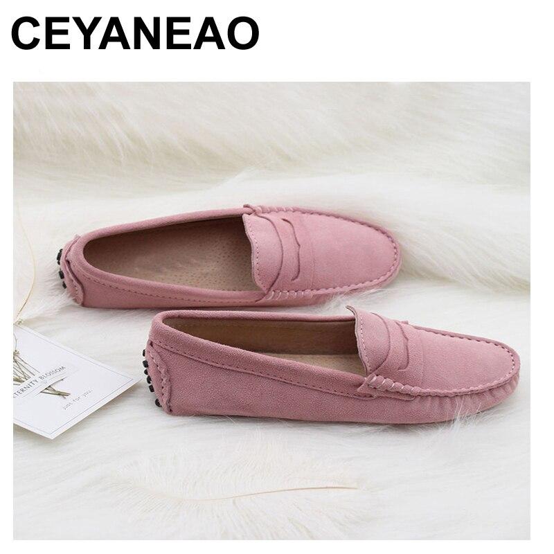 CEYANEAO איכות גבוהה 2018 ניו נשים דירות נעלי נשים עור אמיתיות מותג נעלי נעלי נהיגה מזדמנים אביב הקיץ לנשים