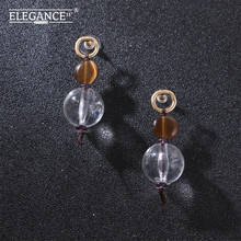 Badu Transparent Crystal Ball Pendant Earring 2019 Fashion Jewelry for Holiday Dangle Drop Earrings Women Wholesale