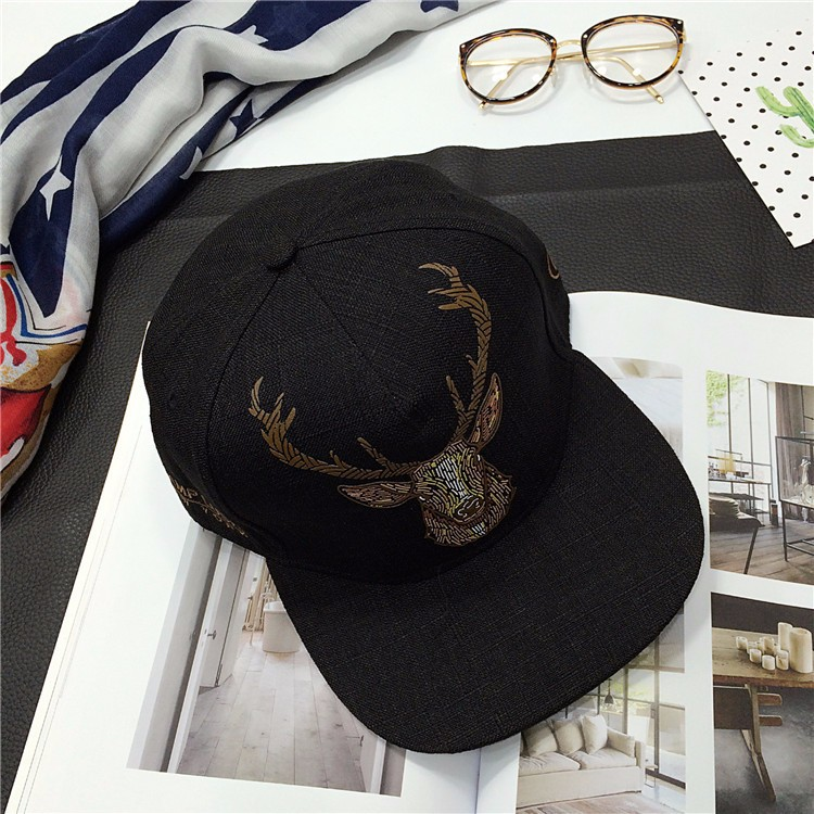 Composite Bats New Fashion Casual Snapback Baseball Cap Deer Head Cotton Linen Embroidery Hat