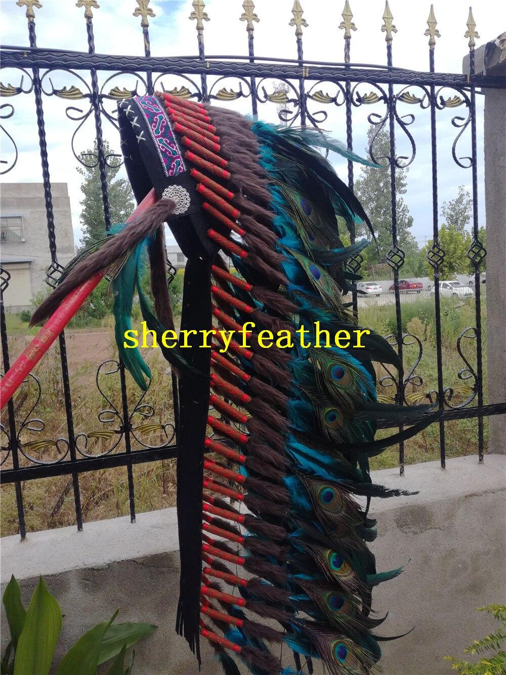 36 zoll Türkis Feder kopfschmuck handmade feder kostüm feder hut kopfstück stirnband-in Feder aus Heim und Garten bei  Gruppe 2