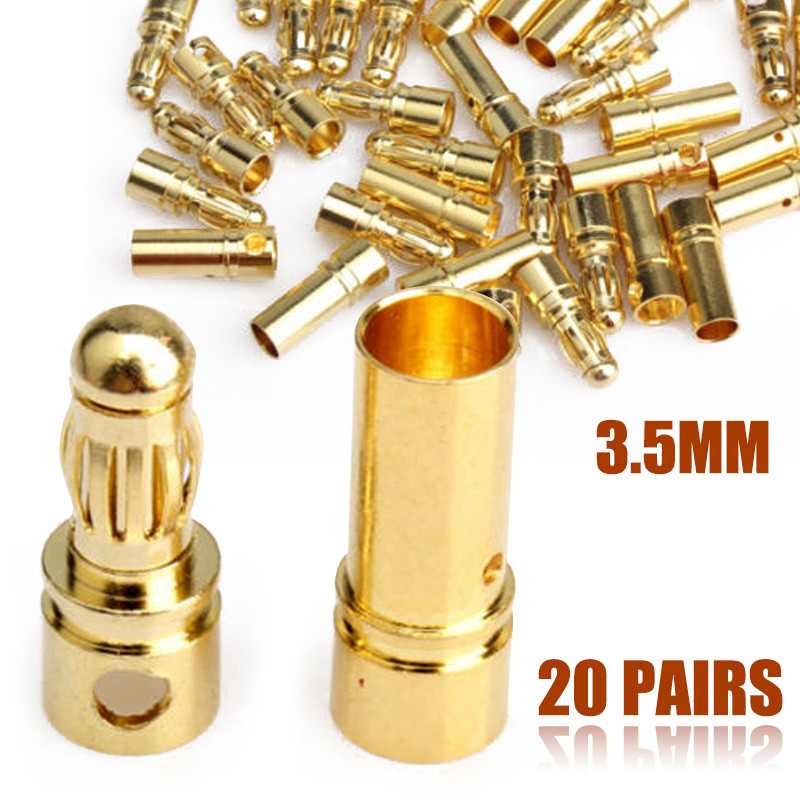 Mayitr 20Pair 3.5mm Gold-plated Bullet Banana Plug Connector for ESC Motor Battery Connector areyourshop hot sale 20 pcs 2mm 5 color gold plated banana plug connector