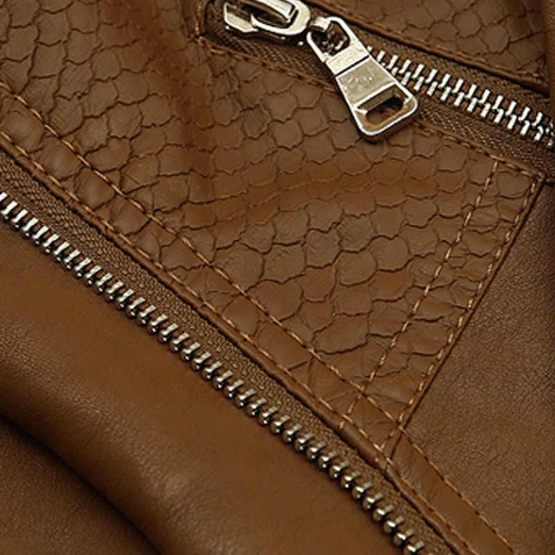 2019 skórzana kurtka kobiet krótkie skórzane kurtki kobiety płaszcz skórzany plus rozmiar 5XL motocykl kurtka brązowy płaszcz skórzany kobiety h196
